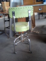 Vintage Studded Industrial Stool – Green Vinyl